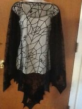 HERITAGE LACE BLACK SPIDER/BATS HALLOWEEN CAPE/PONCHO ITEM A15