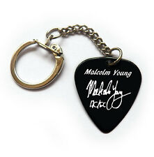 MALCOLM YOUNG Signature printed guitar pick black plectrum keychain key ring