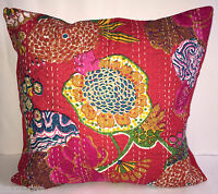 Indian Cotton Ethnic Cotton Floral Kantha Cushion Cover Covers Handmade 16x16 UK