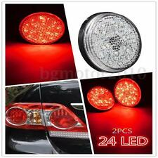 2x Red Round Reflector 12V LED Rear Tail Brake Stop Light For Toyota Corolla US