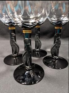 CHRISTIAN DIOR CASABLANCA BLACK CAT PANTHER STEMMED WINE GLASSES GLASS