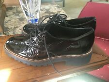 Shellys London  Black patent  Leather  Lugged Sole Chunky Lace Up Oxford- SIZE 7