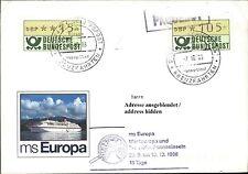 Schiff MS EUROPA Brief 2 Automatenbriefmarken Dt. Schiffspost Shipletter 1988