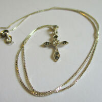 Vintage Estate Sterling Silver 925 CHRISTIAN CROSS Necklace with Marcasite