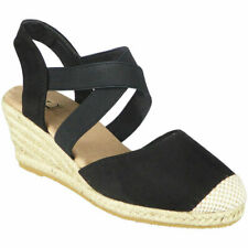 Ladies Slingback Wedge Sandals Womens Hessian Espadrilles Elastic Strappy Shoes