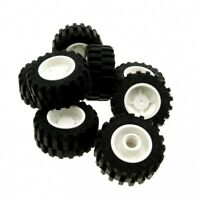 8 x Lego System Rad schwarz 30.4 x 14 Reifen Felge weiß 18mm D. x 14mm Räder 303