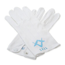 More details for quality 100% cotton white masonic sq & compass gloves with lodge number