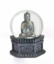 BUDDHA SNOW GLOBE IN SILVER WITH GOLD ACCENTS  EXCLUSIVE 65MM SNOW GLOBE - NEW