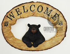 Western Black Bear Wood Block Welcome Sign for Country Ranch Cabin Home Style