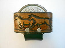 Horse Leather Snuff Can Holder, Chewing Tobacco Case, Handcrafted Running Horses