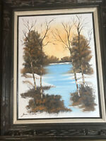 """Large Janis Moreno """"River And Landscape Scene"""" Oil Painting - Signed And Framed"""