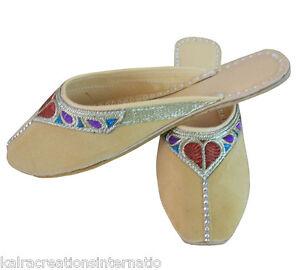 Indian Handmade Women Slippers Juti Leather Flip-Flops Cream Clogs Flat US 6-10