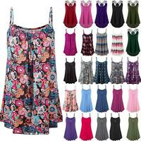 Women's Casual Summer Boho Floral Print Sleeveless Vest Swing Cami Blouse Tops