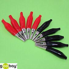 10 Stück 45mm Krokodilklemmen Metall 5 Rot 5 Schwarz für Bananenstecker 208