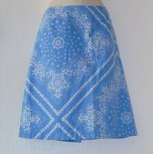 Ann Taylor Periwinkle Blue A Line Skirt White Hankerchief Bandana Print Sz 8