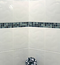10x10cm Sample of 33x25cm Bumpy White Gloss Ceramic Bathroom Wall Tiles