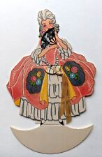 Vintage Bridge Game Tally -- Woman in Large Dress w/ Hand Fan Real Lace