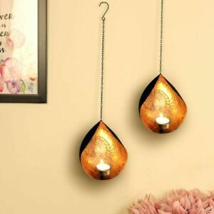 Wall Sconce Tea Light Candle Holder Wall Hanging Easter Home Room Décor Set of 2