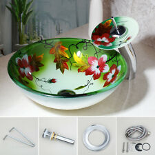 Round Tempered Glass Bathroom Vessel Sink Basin Bowl Drain Faucet Combo Set