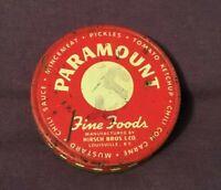 Vintage Tin Advertising Jar Lid PARAMOUNT FOODS Hirsch Bros Louisville Kentucky