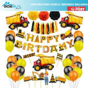 Construction Vehicle Helium Foil Balloons Happy Birthday Set Party Decorations