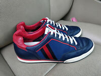 Gucci 83 Tennis Navy Blue Leather Mens Sneakers Shoes Web Stripe Trainers 256649