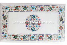 White Marble Coffee Dining Table Top Multi Gemstone Marquetry Inlay Decor H2479
