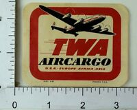 1940's-50's TWA Air Cargo Asia Africa Europe Luggage Label Poster Stamp F70