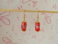 Handmde Red Lampwork Glass Dangle Drop Earrings