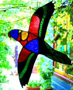 FLYING RAINBOW LORIKEET Stained Glass Suncatcher AUSTRALIAN BIRD PARROT DESIGNS