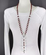 """Dark Red glass bead beaded rosary silver cross 30"""" long necklace faux pearl"""