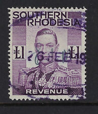 SOUTHERN RHODESIA: 1937 GVI  £1 Revenue stamp  BFT21 used