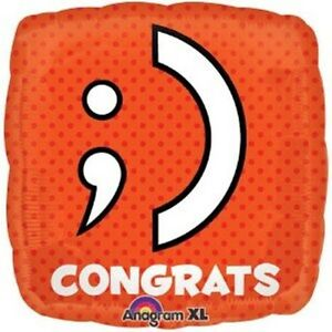 Two 18 inch Congrats Balloons Wink Smile Emoticon Emojii Text Teen Tween Party