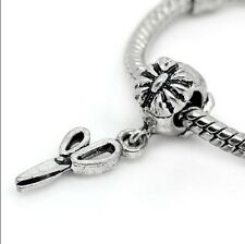 Scissors Hair Stylist Dangle Bead Gift for Silver European Style Charm Bracelet