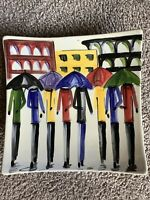 Susan Butler Platter Umbrellas Hand Painted Colorful Abstract  Art Signed Vtg.