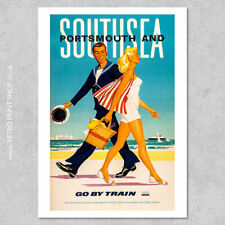BR Portsmouth & Southsea Poster - Railway Posters, Retro Vintage Travel Poste...