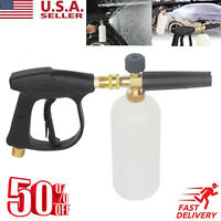 "1/4"" Pressure Snow Foam Washer Jet Car Wash Lance Soap Spray Cannon With Gun"