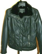 Bernardo Women's Soft Faux Black Leather Fur Lining Motorcycle Jacket/ Coat M