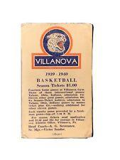 1939-40 Villanova Basketball Pocket Schedule 17-2 Team RARE