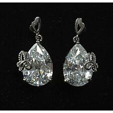 Silver Cubic Zirconia 18K White Gold Plated Teardrop Stud Dangle Earrings UK