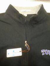 Peter Millar Melange Fleece 1/4 Zip Sweater Vest NWT Small $125 TCU Embroidery