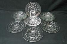 """Vintage Thumbprint Kings Crown Set of 8 Clear Glass Luncheon Plates 7.5"""""""