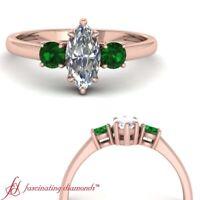 Three Stone Marquise Cut Diamond And Emerald Gemstone Engagement Ring One Carat