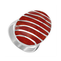 925 Sterling Silver Coral Oval with Stripes Design Ring Size 5 - 10