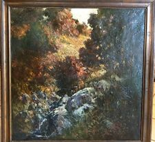 "Philip Little 1922 Original Oil Painting  ""Autumn Afternoon"" + Arts Crafts Frame"