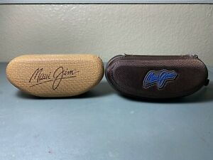 2 Maui Jim Sport Case Brown Zippered Sunglasses and Hard Clamshell Pouch & Cloth