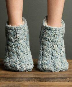 Lemon Legwear Women One Size Dusty Meadow Cable-Knit Slipper Socks Blue 4068 $35