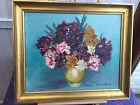 Peinture huile sur toile Bouquet de fleurs Signé