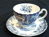 Johnson Brothers Coaching Scenes Blue Cup & Saucer Set Decorated Inside England