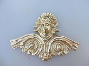 Brass Furniture Ormolu Hardware Mount Angel Head Face Victorian Antique STYLE